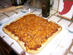 I really want to try this!  School Pizza Recipe. I miss old school, school pizza!