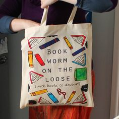 Book worm on the loose tote bag
