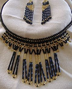 Midnight In Paris Beadwoven Fringed Necklace & Earring SET Handmade Seed Beads #Handmade #Bib