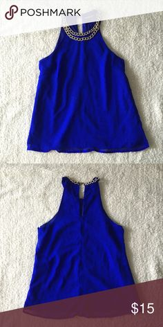 CR Royal Blue Halter Top Charlotte Russe royal blue halter top with gold chain. The necklace is attached to the top. Size S. Only worn 2 times. Perfect for a GNO  Charlotte Russe Tops