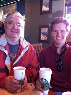 Laid back with my son, Justin, at the Starbuckds in Lake Tahoe