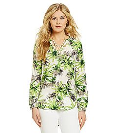 Gibson and Latimer PalmPrint Peasant Blouse #Dillards