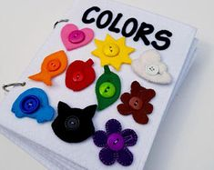 2020 Pre-Order: COLORS quiet book felt book/busy book with Rick Rack, Good News, Raw Edge Applique, Young Baby, Toddler Books, Quiet Books, Felt Books, Children's Books, Busy Book