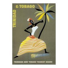 Poster de viagens do vintage, Trinidad and Tobago de Zazzle.com.br