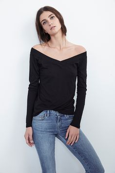 """Hmm. I love this shape, but it's a) """"gauzy"""" and b) $86. Now, a responsibly made tee shouldn't be dirt-cheap. BUT I am sick to death of women's knitwear that requires three camis just to be opaque. For $86 I want something solid. (But that neckline IS pretty sweet.)"""