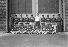 Softball team, No.1 Naval Air Gunners School (Royal Canadian Navy Schools), Yarmouth, Nova Scotia, Canada, 8 September 1943. #vintage #Canada #sports #WW2 #1940s