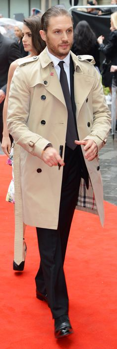 British actor Tom Hardy wearing Burberry to 'The Dark Knight Rises' European premiere in London