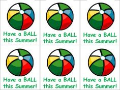 Free! Have a ball this summer...Summer Gift Tags