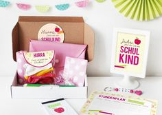 Einschulungsbox | Geschenkbox Buchstabensalat Pink von nähfein auf DaWanda.com
