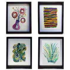 Selection of acrylic abstracts on watercolour paper