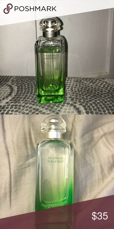 Hermēs Paris Un Jardin Sur Le Toit 3.3fl oz Hermēs Paris Un Jardin Sur Le Toit 3.3fl oz. Very little used! I bought this perfume because I loved it when I tested it but after awhile it didn't mix well with my natural scent.                                           Product details: Inspired by annual themes at Hermes, the garden perfumes collection is an olfactory stroll, in situ creation, in the footsteps of the in-house perfumer. A fragrance of light and delight, crunchy and cheerful…