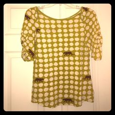 Anthropologie Pea Green Dotted Top Pea green dotted top with panthers in the design from Anthropologie! Tag was cut out because it was itchy. Has ruched sleeves and really cute buttons. Excellent condition! Anthropologie Tops Tees - Short Sleeve