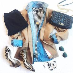 leopard shoes outfit Fall outfit inspiration with regent blazer, chambray button up, leopard shoes and a striped top. Chic Outfits, Fall Outfits, Work Outfits, Leopard Shoes Outfit, Diva Fashion, Womens Fashion, Fashion Ideas, Fashion Tips, Flannel Fashion