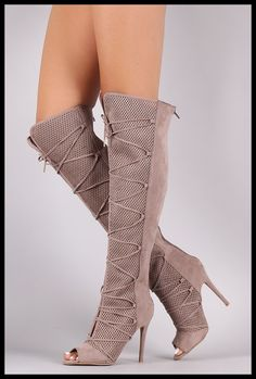 Nude Lace Up Perforated Knee High Boot