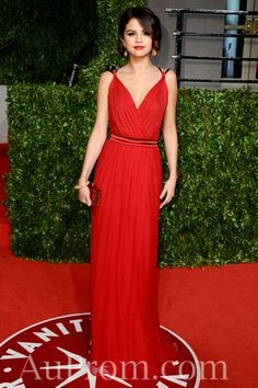 Chiffon Elegant Long Selena Gomez Red Evening Dress Sale Online,Popular Celebrity Dress-popular celebrity dress, fashion celebrity dress, prom dress online - Buy best cheap formal prom dress from AuProm.com