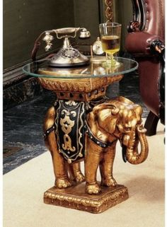 Amazon.com: Maharajah Elephant Glass Topped Sculptural Table: Furniture U0026  Decor