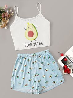 Shop Snack Print Satin Cami PJ Set at ROMWE, discover more fashion styles online. Cute Lazy Outfits, Teenage Outfits, Kids Outfits Girls, Girls Fashion Clothes, Teen Fashion Outfits, Stylish Outfits, Cool Outfits, Cute Fashion, Cute Pajama Sets