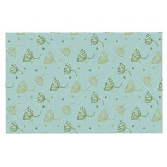 KESS InHouse KESS Original 'Floating Dandelion ' Green Teal Dog Place Mat, 13' x 18' >>> Awesome dog product. Click the image : Dog food container