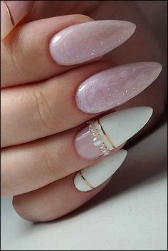 30 Perfect Pink And White Nails For Brides ❤ pink and white nails bridal origi… 30 perfect pink and white nails for brides, original pink and white nails bridal design with marble gold stripes and pearls arminails # Bride nails Cute Acrylic Nails, Cute Nails, Pretty Nails, Gorgeous Nails, Pink Nails, My Nails, Color Nails, Glitter Nails, Pink White Nails