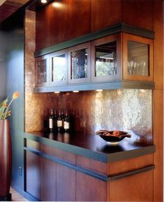 distressed copper backsplash  have a  local metalworker fabricate one for you out of sheet copper that's typically used for roofing or gutters - great idea!!! Love, love this backsplash