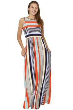 83830476a7c6be Orange Blue Multi Striped Pocket Style Maxi Tank Dress
