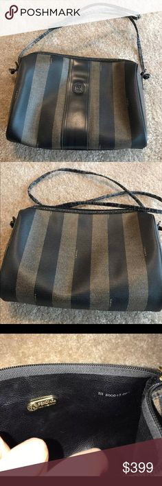 """VINTAGE FENDI CROSSBODY Vintage Fendi Pequin Stripe crossbody purse.  Coated canvas in Fendi signature colors with signature gold hardware. Purse is in very good condition with some wear along edges by zipper as shown.  Serial number as shown in pic. Strap has significant wear & needs replacement which is not hard. 9"""" x 7.5"""" x 2.5"""".  21"""" drop.   LOWBALLERS WILL BE BLOCKED.  PLEASE DON'T WASTE MY TIME I have a matching wallet listed.  Also have a Louis Vuitton bag & wallet listed.    Smoke…"""