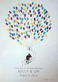 Discount, New Design, Medium Moon Balloon, The original guestbook thumbprint balloon (inks available separately). $70.00, via Etsy.
