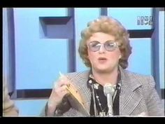 """In this clip from the panel (Bill Cullen, Peggy Cass, Nipsey Russell, and Kitty Carlisle) must identify William Hanna of the famed """"Hanna-Barbera"""" duo . Bill Cullen, Kitty Carlisle, William Hanna, Hanna Barbera, Tell The Truth, Body Language, Channel, Mens Sunglasses, Game"""