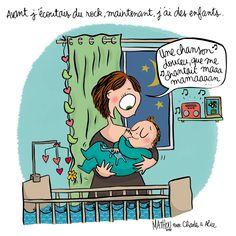 """Illustration par Crayon d'Humeur pour Charles & Alice : """"Eh oui, devenir maman c'est aussi savoir se mettre au diapason ;)"""""""