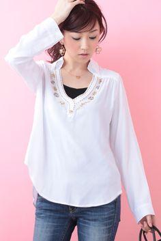Bijou Shirt (White)   Cherry Ann Online Shop Cherry Ann, Bell Sleeves, Bell Sleeve Top, White Cherries, Blouses, Long Sleeve, Shirts, Shopping, Tops