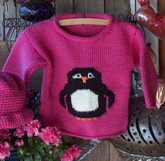 Pattern  WWD20  Child's Knit Penguin Pullover by WeeziePants, $6.00
