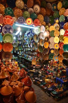 A World of Choices. $30.00, via Etsy.  Maroccan pottery store in a traditional souk.