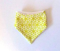 Lime Green Drool Bib, Modern Baby Bib, Triangle bib, geometric fabric, adult bib, soft bib, drool bib, lime green geometric, honeycomb print