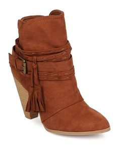 Qupid EA99 Women Suede Pointy Toe Tassel Wrapped Western Bootie - Rust *** More info could be found at the image url.
