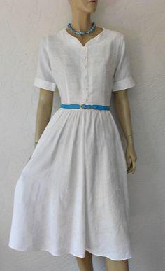 Vintage Dress/60's White Cotton Damask Floral by luvofvintage, $46.00
