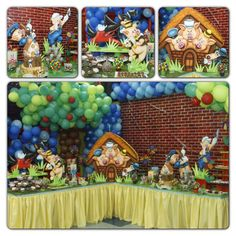 Three little pigs and the big bad wolf los tres cochinitos party decor