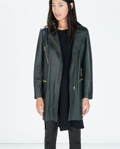 Image 1 of LEATHER COAT WITH ZIPS from Zara 8.000,-