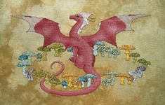 Fairy Ring by Fire Wing Designs Embroidery Patterns, Cross Stitch Patterns, Dragon Cross Stitch, Fairy Ring, Wings Design, Detailed Image, Vintage World Maps, Painting, Mushroom