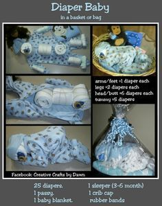 How To Make A Diaper Baby A truly unique baby shower gift . - Baby Diy - How to make a diaper baby, A truly unique baby shower gift … - Bricolage Baby Shower, Regalo Baby Shower, Baby Shower Crafts, Baby Shower Diapers, Baby Shower Decorations, Diaper Shower, Baby Shower Unique, Baby Shower Fun, Baby Showers