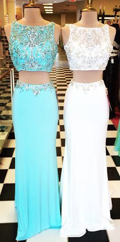 sexy 2 piece prom dresses, two piece prom dresses cheap, beaded prom dresses for women, 2107 new arrival prom gowns, high quality prom dresses for women, white prom dresses, blue prom dresses