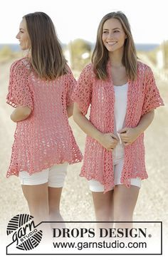 Peach Sorbet jacket with seamless sleeves by DROPS Design Free Crochet Pattern