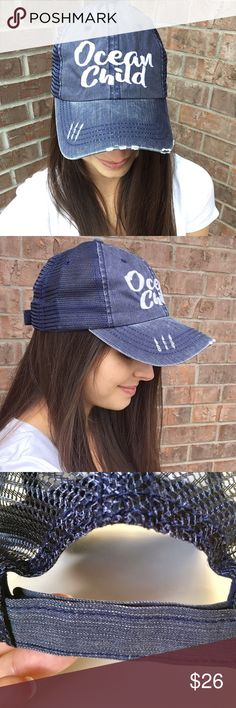 Distressed Ocean Child Trucker Hat Enjoy a day at the beach in this adorable Ocean Child trucker hat with mesh back and velcro closing.  No tags attached.  The one you purchase will not be the one I wore (keeping one).  PRICE FIRM UNLESS BUNDLED (10% off bundles).                                                                                 80% Cotton 20% Polyester                                PayPal Trades Boutique Accessories Hats