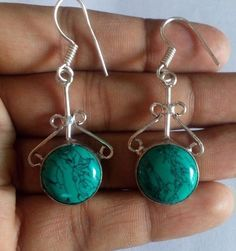 Natural Turquoise Cabochon Loose Gemstone Beautiful Earring Drag and Drop Set #HAYAATGEMS #DropDangle