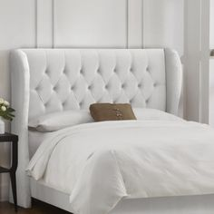 Tufted Wingback Upholstered Headboard Love the style but in a different color.
