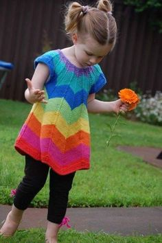 Ava Tunic knitting pattern PDF~~~think I can do this in crochet. Knitting For Kids, Knitting Yarn, Knitting Projects, Baby Knitting, Crochet Girls, Crochet For Kids, Knit Crochet, Knit Baby Dress, Baby Sweaters