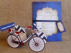 Προσκλητήριο βάπτισης vintage ποδήλατο σε σκούρο μπλε φόντο