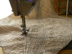 stitching by Danny W. Mansmith, via Flickr could use this stitched fabric to cut up and re-piece into mixed colour or mixed media art