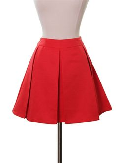 Classic Box Pleat Skirt in Red