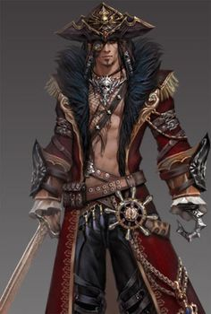 Classes - Pirate from Official. Conquer Online is a popular free to play PVP MMORPG online game with epic classes especially new class Pirate and Ninja, thousands of Quests and the global community of millions players! Pirate Art, Pirate Life, Anime Pirate, Forgotten Realms, Fantasy Male, Anime Fantasy, D D Characters, Fantasy Characters, Character Concept