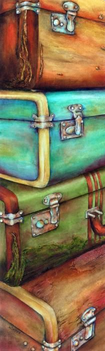 SPLASHDUCK sharing images of paintings with color harmony. Stacked Vintage Luggage Painting  - Stacked Vintage Luggage Fine Art Print